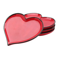 Happy Hearts Set Of 4 Red Plates