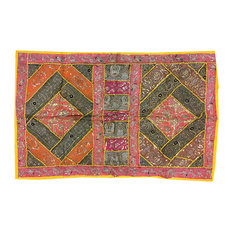 Mogulinterior - Indian wall Decor Tapestry Embroidery Sequins Sari Patchwork Wall Hanging - Tapestries
