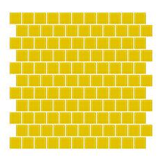 "12""x12"" Bright Yellow Glass Tile, Full Sheet, Off-Set"