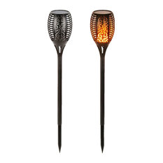Solar Lights Dancing Flames LED Waterproof Wireless Flickering Torches, Set of 2