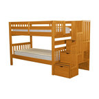 Bedz King Bunk Beds Twin Over Twin Stairway With 3 Step Drawers, Honey