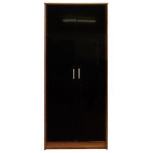 Khabat 2 Door Wardrobe, Black and Walnut, Without Mirror