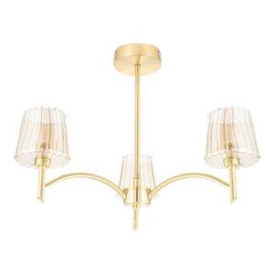 Niles 3-Light Semi-Flush Ceiling Light, Satin Brass
