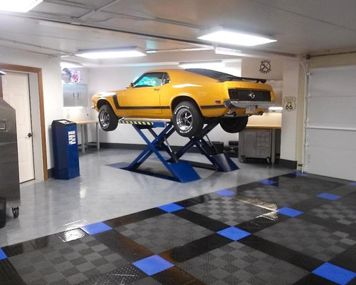 Racedeck floored home garage with infloor car lift Lift for home garage