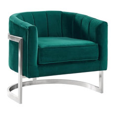 Kamila Contemporary Accent Chair, Green Velvet Brushed Stainless Steel Finish