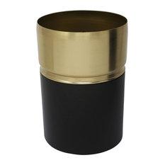 "Sagebrook Home 7.5"" Metal Vase W/Gold Rim, Black"