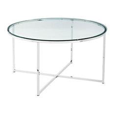 2-Piece Round Coffee Table Set Glass/Chrome