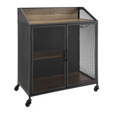"33"" Urban Industrial Bar Cabinet Rolling Cart With Mesh Doors, Rustic Oak"