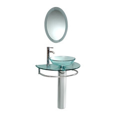 "29.5"" Belvedere Modern Bathroom Vanity, Tempered Glass Sink"