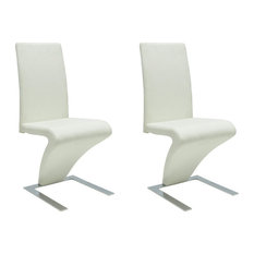 vidaXL - vidaXL Set of 2 Faux Leather Iron Dining Chairs, Zigzag Shape, White - Dining Chairs