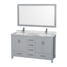 "Sheffield 60"" Double Vanity, Gray, Carrera Marble Top, Undermount Square Sinks"