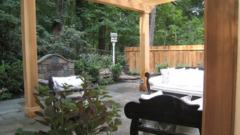 Glenside, Pa woodland pool, firepit, pergola, patio