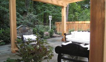 Glenside, Pa woodland pool, firepit, pergola, patio