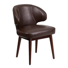 IHome Studio   Silkeborg Curved Back Brown Leather Side Chair With Walnut  Legs   Armchairs And