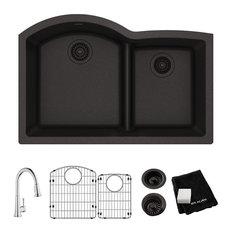 "Elkay Quartz Classic 33"" Undermount Sink Kit with Faucet, Black"