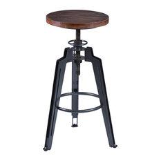 Tribeca Bar Stool Adjustable Industrial Gray Ash Wood