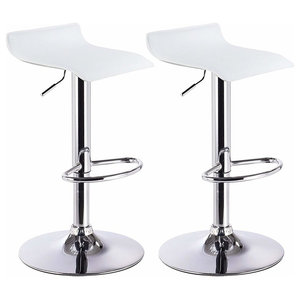 2 Swivel Bar Stool Set in Faux Leather with Footrest and Adjustable Height
