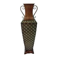 Green And Bronze Metal Vase