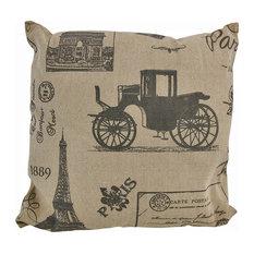 Tan/Brown Canvas French Postcard Victorian Paris Print Throw Pillow 16in.