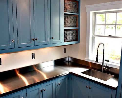 hauswirtschaftsraum mit edelstahl arbeitsplatte und integriertem waschbecken ideen f r. Black Bedroom Furniture Sets. Home Design Ideas