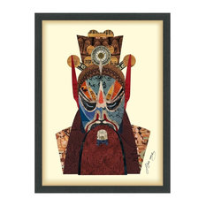 Beijing Opera Mask Dimensional Collage Wall Art Under Glass