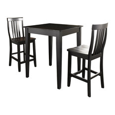 3-Piece Pub Dining Set With Tapered Leg and School House Stools, Black Finish