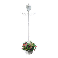 Sun-Ray Kenwick Single-Head Solar Lamp Post and Planter With Hanger, White