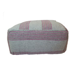 Moroccan Fabric Ottoman, Chocolate and Beige Stripes, Gray and Pink