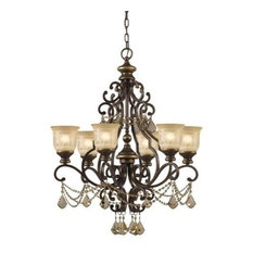 Crystorama Norwalk, 6-Light Chandelier, Golden Teak Hand Cut Crystal