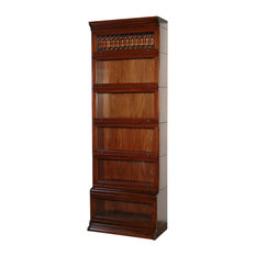Mahogany Millworks - 8' Tall Mahogany Barrister Stacking Bookcase Display With Leaded Glass - Bookcases