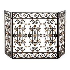 Elegant Gold Bronze Three Panel Iron Gate Firescreen, Fireplace Screen