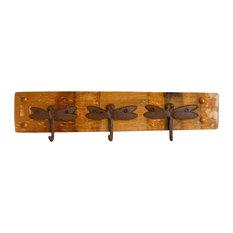 Wine Barrel Coat Rack with Dragonfly Hooks