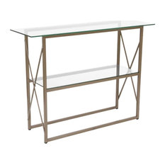 2 Tier Console Table Gold Painted Brace Frame With Thick Glass Top