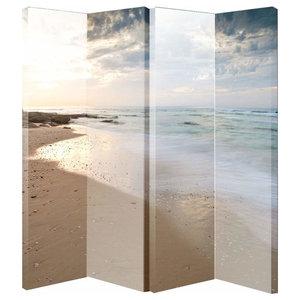 Modern Folding Room Divider with MDF Frame, Beach Scene Print Design