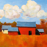 """GreenBox Art + Culture - """"Autumn Glory"""" Canvas Wall Art by Robert (Bob) Kennedy, 24""""x18"""" - Vibrant reds and blues make this painting oh so attention getting.  Robert Kennedy's brush strokes paint a picture of the American countryside."""