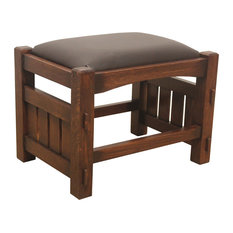 Mission Style Foot Stool Solid Oak and Leather