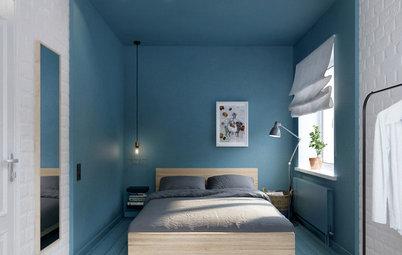 質のよい眠りを誘うのは、ブルーを基調にしたベッドルーム