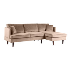 Sofamania - Modern Brush Microfiber Sectional Sofa With Extra Wide Chaise, Hazelnut - Sectional Sofas
