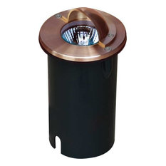 Solid Copper In-Ground Well Light With Eyelid, Copper