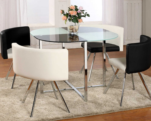 Extravagant Rounded Frosted Glass Top Leather Dinette Tables And Chairs   Dining  Tables Images