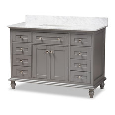 48-Inch Transitional Gray Finished Wood And Marble Single Sink Bathroom Vanity