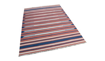 Ganges Striped Rug, Terracotta and Blue, 180x250 Cm