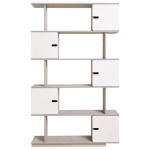 PIX Modular Shelving Unit, Pebble Grey and White, 5 Cupboards