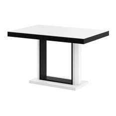 QUATRO Dining Table with Extension, White/Black