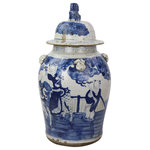 Legends of Asia - Vintage Temple Jar Enchanted Children Motif - Large - Add a touch of ancient vintage flare to your home decor with these lovely enchanted children motif temple jars. Available in two sizes that will pair nicely.