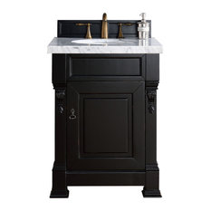 "Brookfield 26"" Antique Black Single Vanity 2CM Carrara White Marble Top"