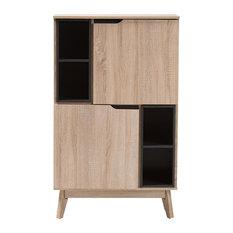 modern storage cabinets. wholesale interiors - baxton studio fella storage cabinet, light brown and gray cabinets modern