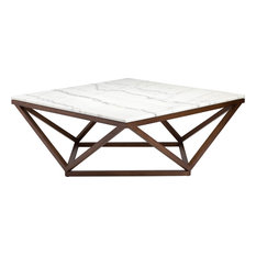 Jasmine Coffee Table, Modern Wooden Walnut Coffee Table, Square White Marble