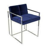 Federico Dining Chair, Midnight Blue Velvet, Chrome Frame