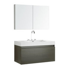 "Fresca Mezzo 39"" Gray Oak Modern Bathroom Vanity With Medicine Cabinet"